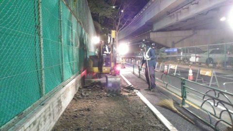 江戸川区 歩道舗装工事(夜間)