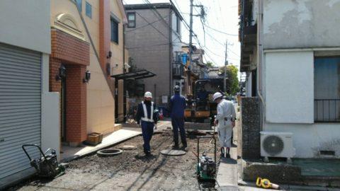 足立区梅島 2日目 舗装復旧工事
