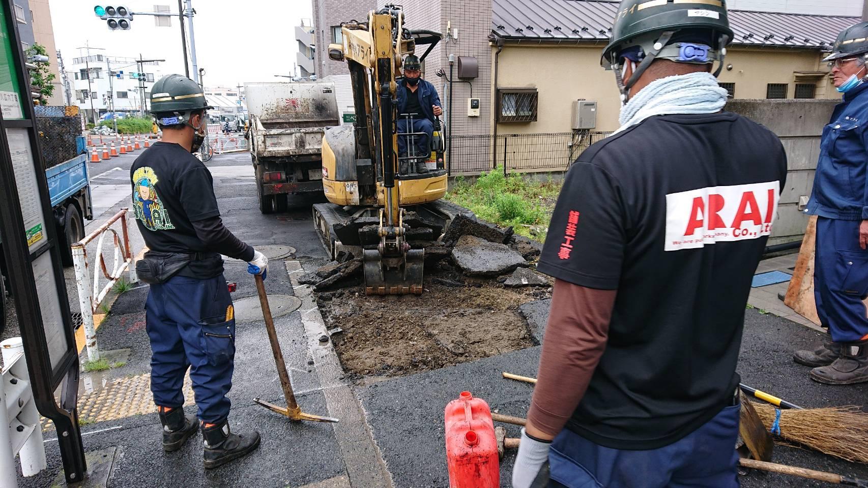 墨田区 八広 歩道舗装工事(2日目)