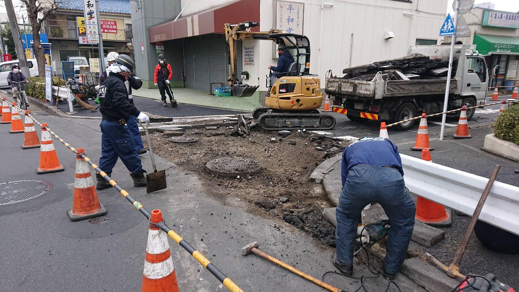 足立区内 車道打ち換え工事👷♂️(7日目)