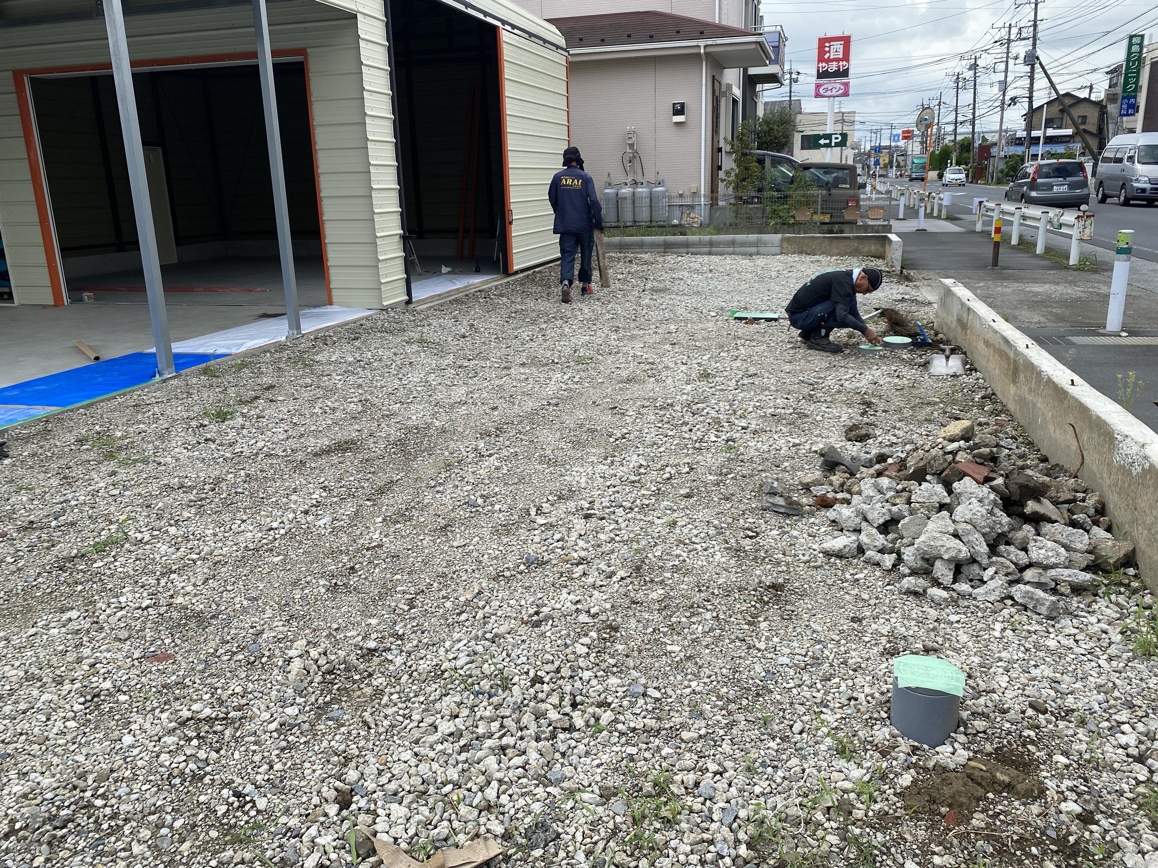 草加市柳島町 駐車場舗装工事
